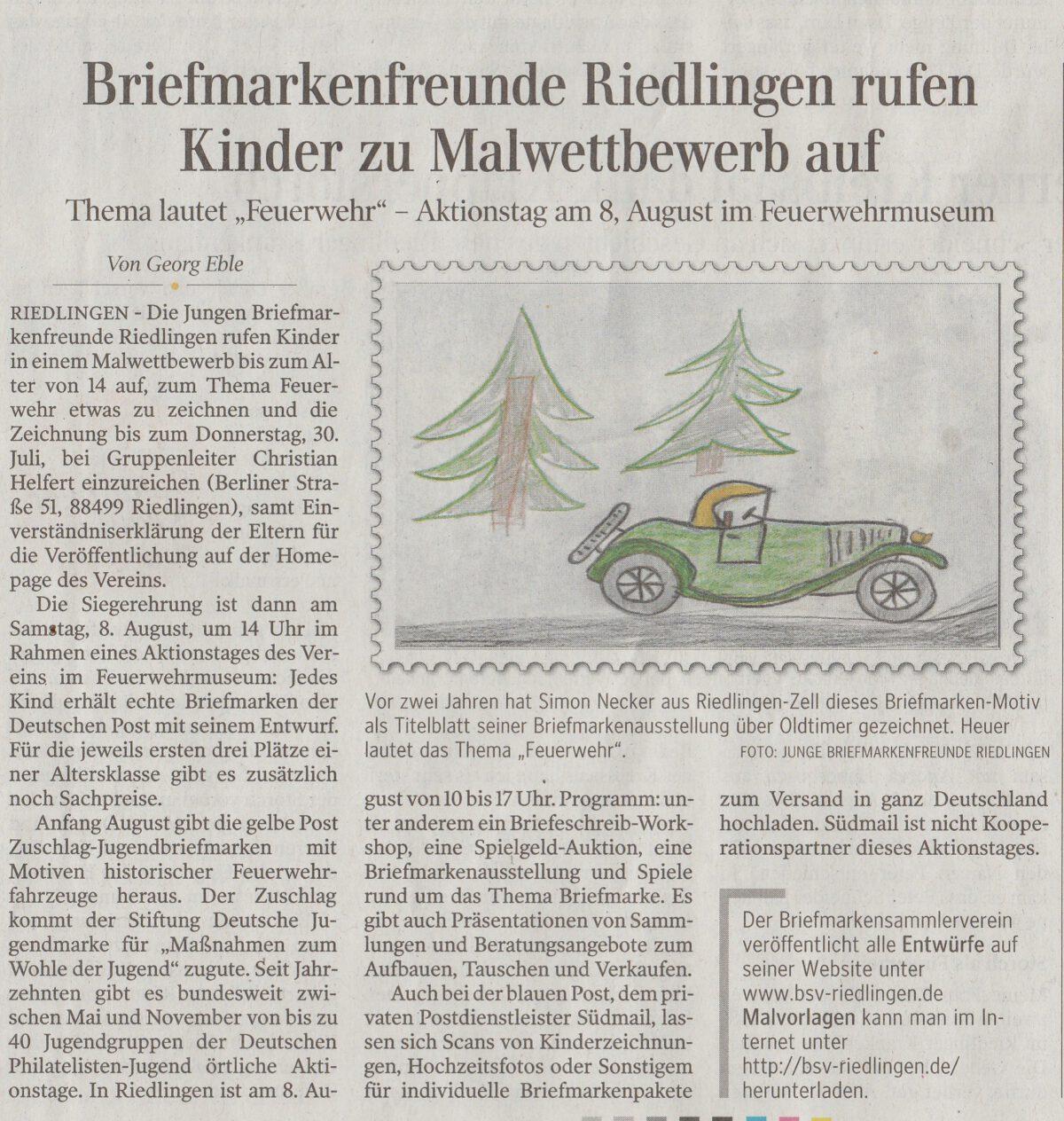 Schwäbische Zeitung vom 17.07.2020 – Briefmarkenfreunde Riedlingen rufen Kinder zu Malwettbewerb auf